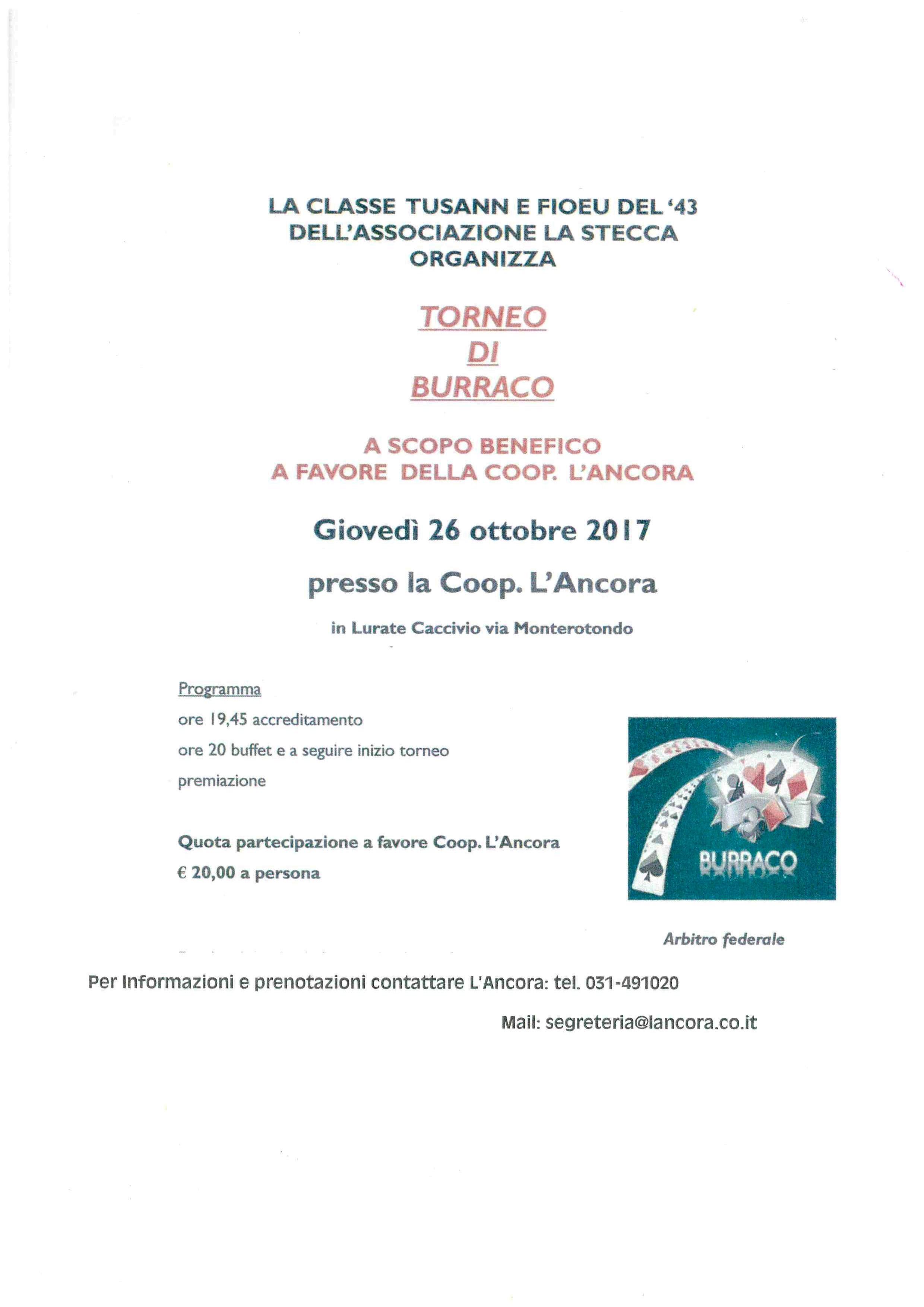 TORNEO DI BURRACO PRO L'ANCORA 2017